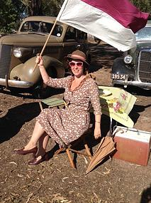Rosalie Ham - keeping cool on the set of 'The Dressmaker'