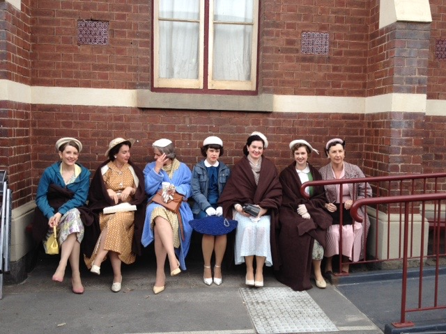 In costume and on the set of 'The Dressmaker'